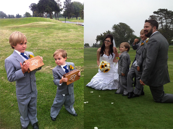 Look at those cute little ring bearers. Ring boxes made by Marcali Designs.