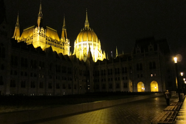 Parliament Building on Mat's night tour of Budapest
