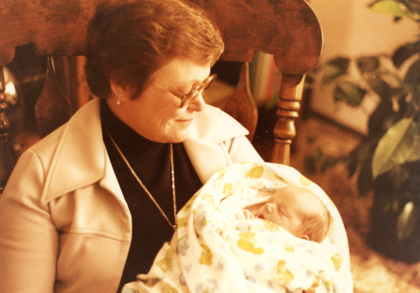 Grandma Betty holding me as a baby.
