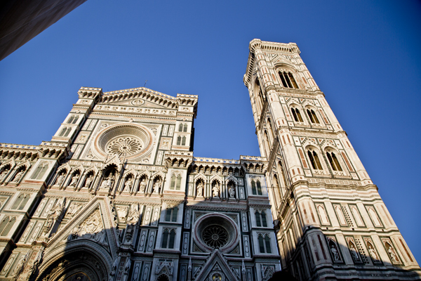The face of Basilica di Santa Maria del Fiore and Giotto's bell tower