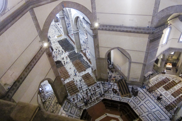 Looking down on the interior of the church while climbing the dome