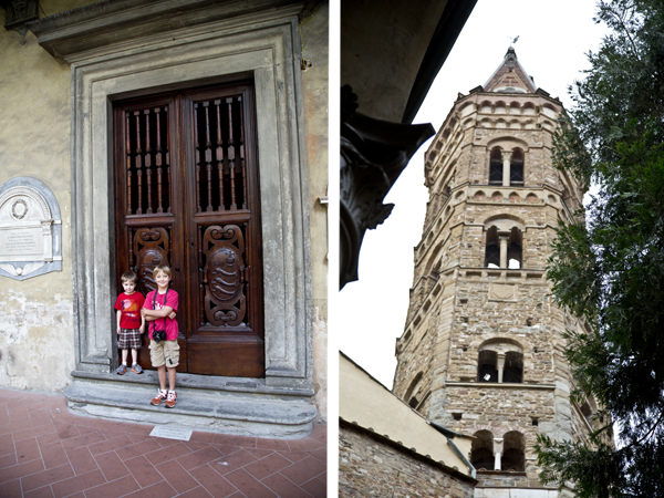 The boys waiting patiently against some gorgeous doors and a view of the bell tower from the courtyard.