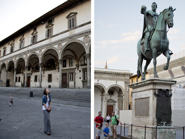 Me in front of the Spedale degli Innocenti and the boys posing by the statue of Ferdinando I de' Medici