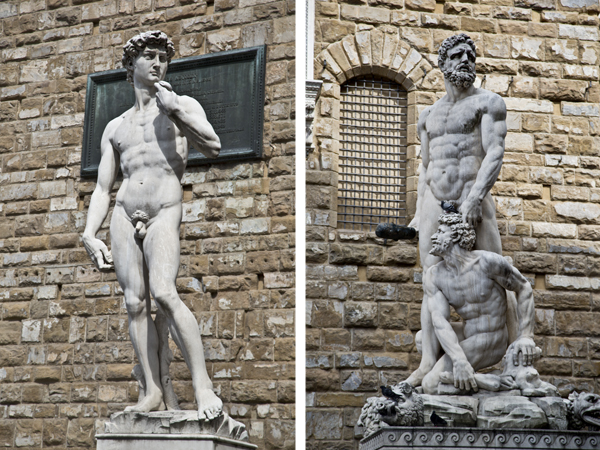 "Replica of the statue of David and the original ""Hercules and Cacus"""
