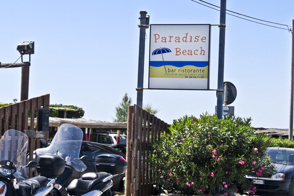 The sign at Paradise Beach