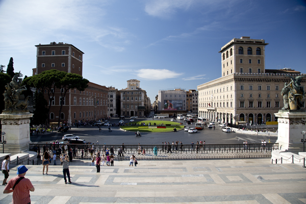 View of Piazza Venezia from the Altare della Patria