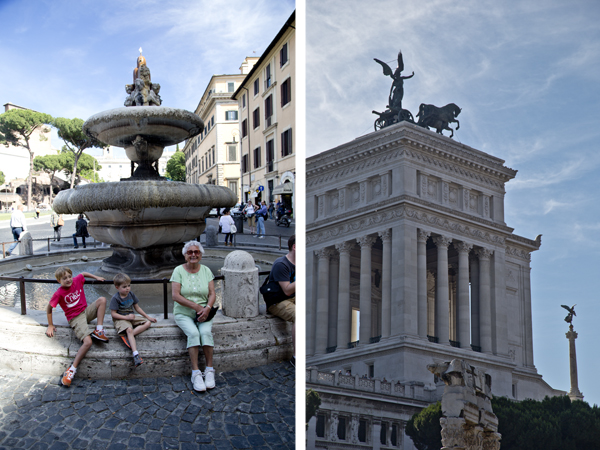Dédi and the boys at the Fontana di Piazza d'Aracoeli located at the base of Capitoline Hill and the rear side of the Altare della Patria