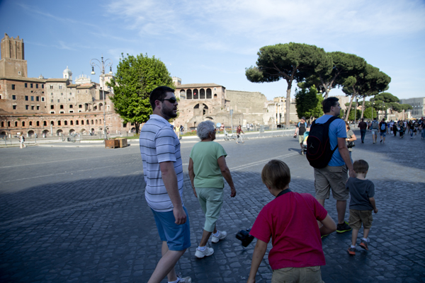 Walking in front of the Fori Imperiali