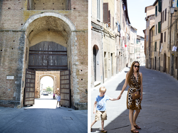 The city gates and walking down the streets of Siena