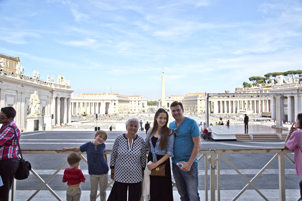 Looking back at Saint Peter's Square from Saint Peter's Basilica