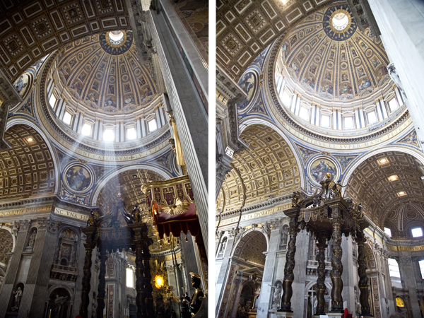 Bernini's Baldachino and Michelangelo's Dome