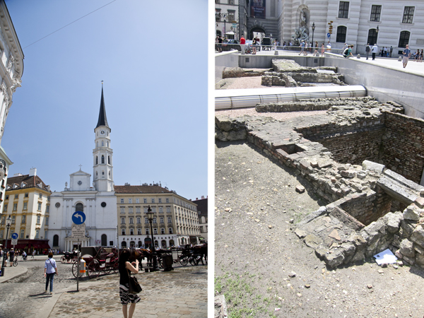 St. Michael's Church and the Roman ruins in the Michaelerplatz