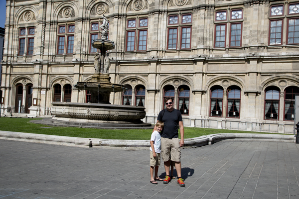 David and Big Guy in front of the Vienna State Opera Building