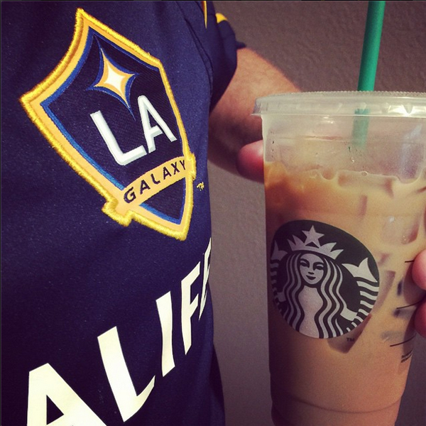 David picked up Starbucks the morning of the game.