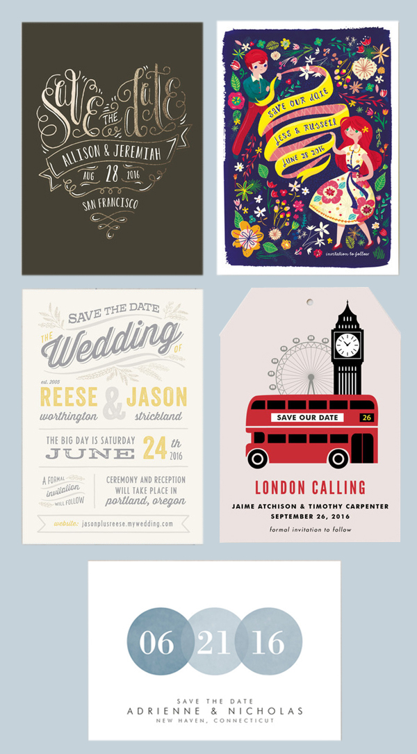 This is a selection of graphic save-the-date options