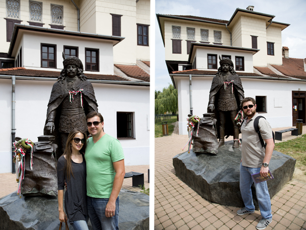 Posing with the statue of Ferenc Rákóczi II