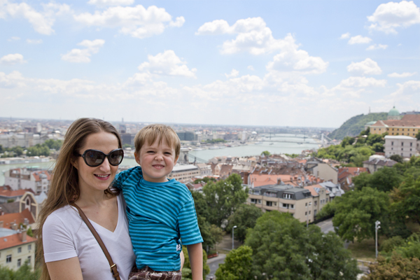 Me and Little Man with views of the Danube
