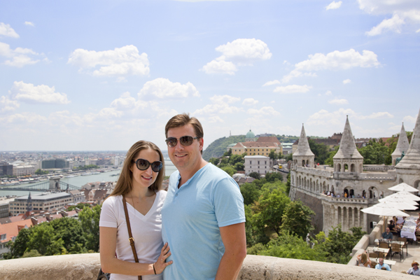 Me and David with part of the Fisherman's Bastion, the Danube and the Royal Palace in the background