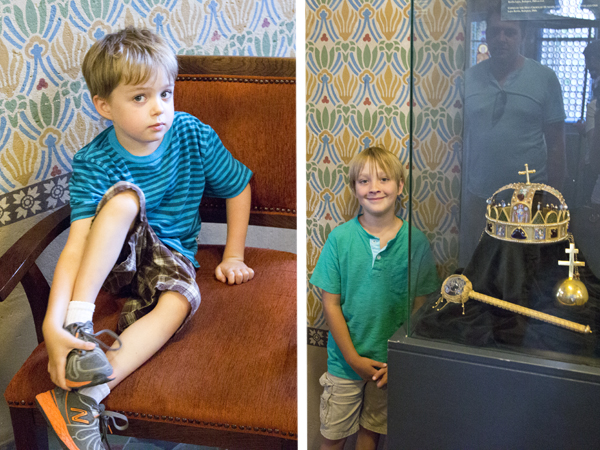 Little man rests and Big Guy poses with the crown replica in the King's Oratory
