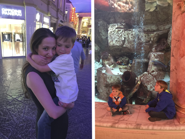 Here I am carrying little man through the Forum shops on our way to dinner and both boys sitting in front of the giant aquarium in the Forum Shops.