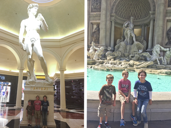 Posing with the statue of David and at the fountain just outside of the Forum Shops.