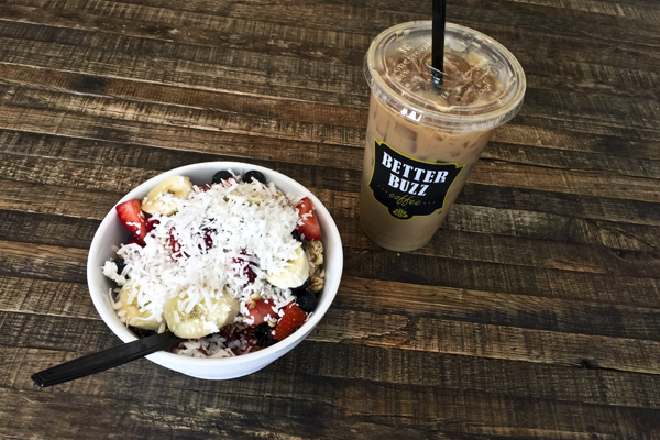 My breakfast açai bowl (the islander) and iced latte