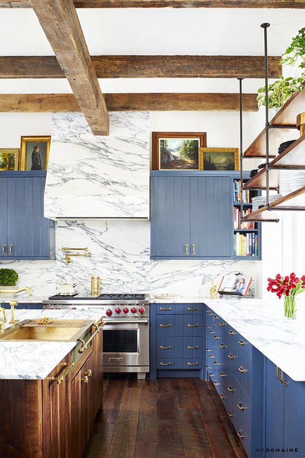 Decker fell in love with the cookies and cream look of the kitchen's Arabiscato marble.